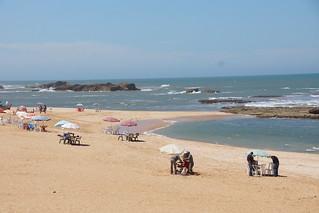 Oualidia beach 1689 Metre uzunluğunda plaj görüntü.