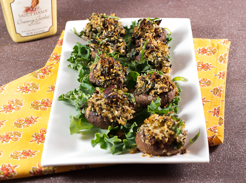 Mustard Glazed Bacon and Kale Stuffed Mushrooms
