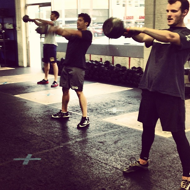 Russian #kettlebell swings. #crossfit
