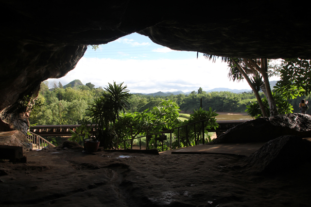 View out of the cave at Tham Kra Sae