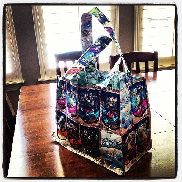 My new summer bag. It took 35 caprisuns to make. It's really kind of fun!