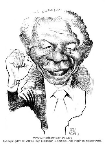 Nelson-Mandela-caricature-sketch by caricaturas