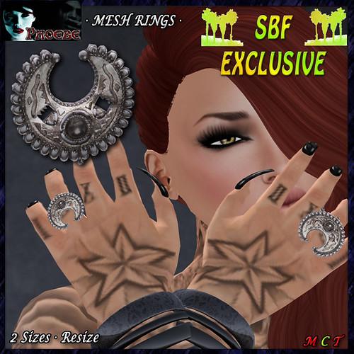 P Inca Moon MESH Rings - SBF