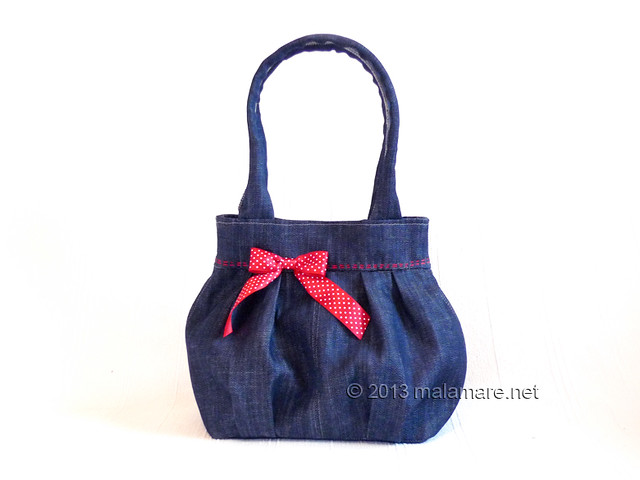 Upcycled blue jeans handbag