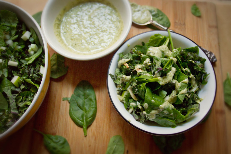 Kale, Spinach, and Apple Salad with Mint-Chive dressing.