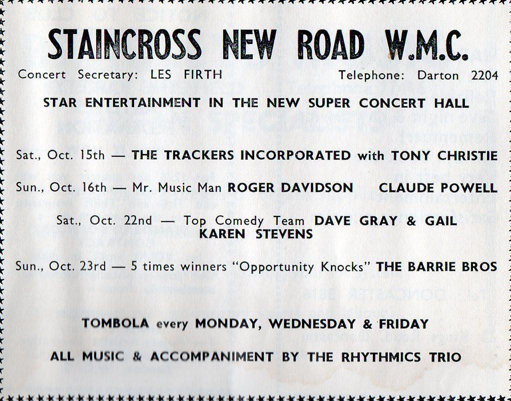 Staincross New Road WMC Oct 1966