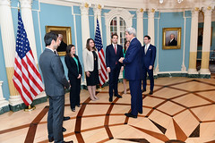 U.S. Secretary of State John Kerry meets with the Transatlantic Diplomatic Fellows at the U.S. Department of State in Washington, DC on May 20, 2015. [State Department photo/ Public Domain]