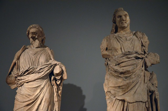 Colossal statues of a man and a woman from the Mausoleum at Halikarnassos, traditionally identified as Maussollos and Artemisia II, around 350 BC, British Museum