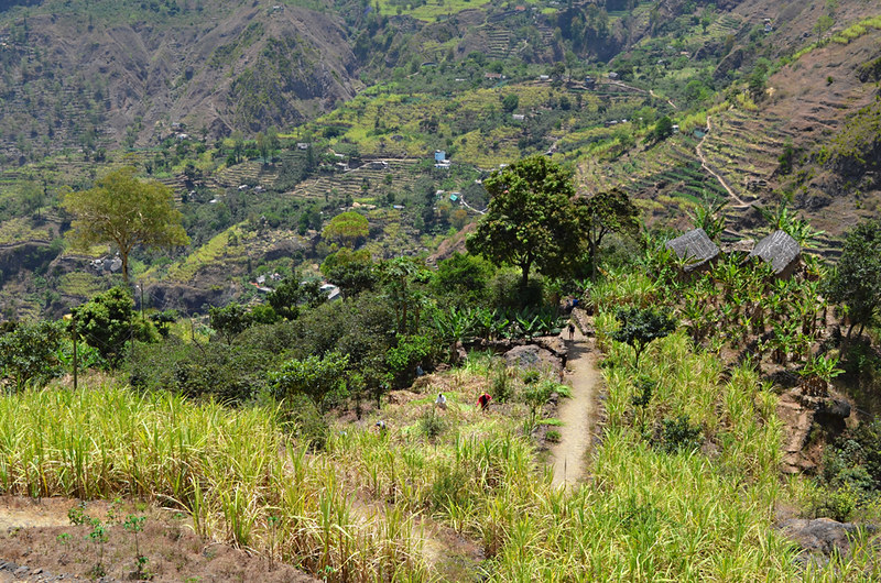 Walking through Ribeira do Paul Valley, Santa Antau, Cape Verde