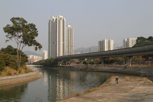 Ma On Shan line viaduct parallels the Shing Mun River
