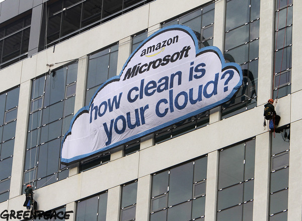 Greenpeace activists floated a cloud over downtown Seattle April 19, 2012, in a demonstration to draw attention to the type of energy that tech companies Amazon and Microsoft use to power their cloud computing services.  Photo by Greenpeace