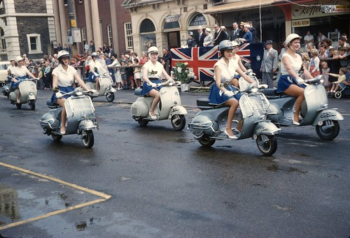 Vespa scooters on the march, Glenelg Pageant 1958 by nickant44