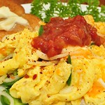 Mmm... salsa on scrambled eggs