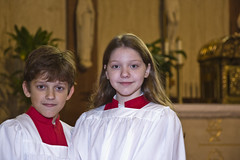 Monsignor Romero, Clint Trahan and altar servers - December 16, 2007