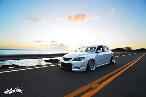 white mazda mazdaspeed 3 work varianza aggressive camber tucked flush rim wheel
