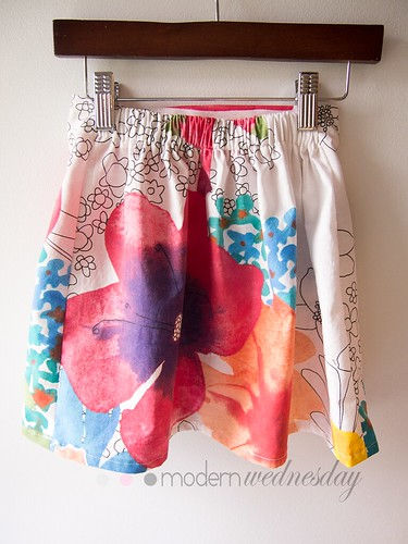 Ikea-print-flat-panel-skirt-gathered-back