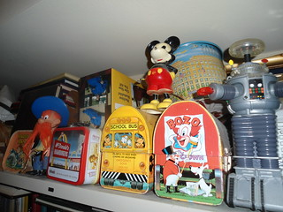 Collectibles Bozo the Clown and Disney School Bus Dome Lunch Boxes, Yosemite Sam and the Robot from Lost in Space