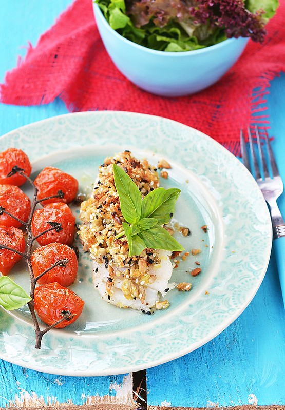 codfish fillet with baked cherry tomatoes.3