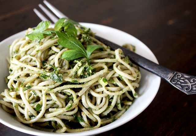 Parsley Pesto with Buckwheat Noodles