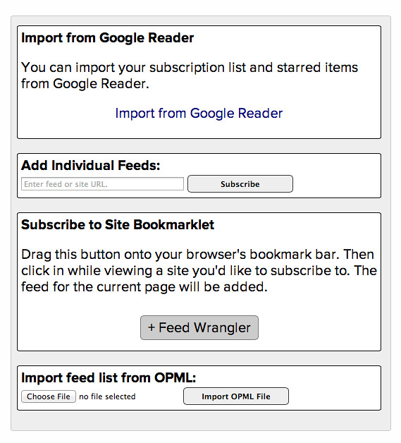 Feed Wrangler import options