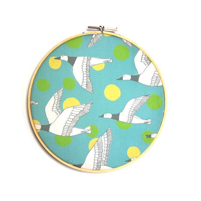 migratory birds - grey, light teal, apple green, pale yellow