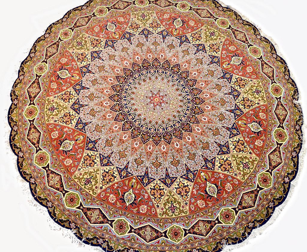 Gonbad Tabriz Silk Persian Circular Rug