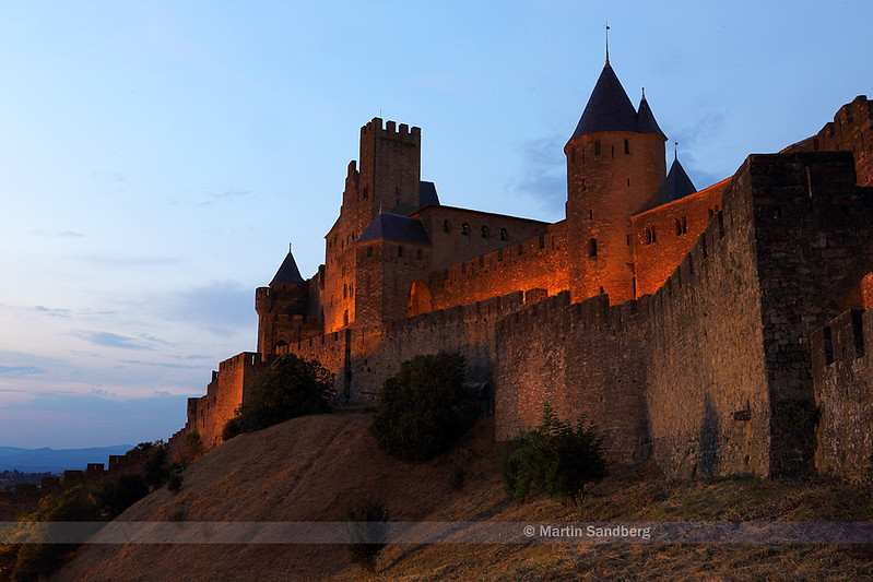 Night falls over Carcassonne