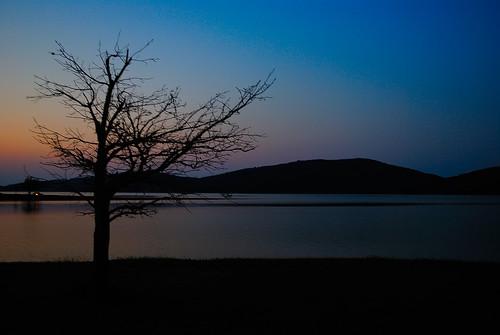 sunset lake greece thessaly lakeplastira argithea