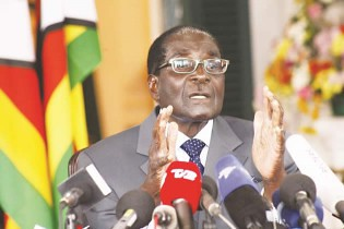 President of the Republic of Zimbabwe Robert Mugabe at a press conference on July 30, 2013. The national elections were scheduled for the next day. by Pan-African News Wire File Photos