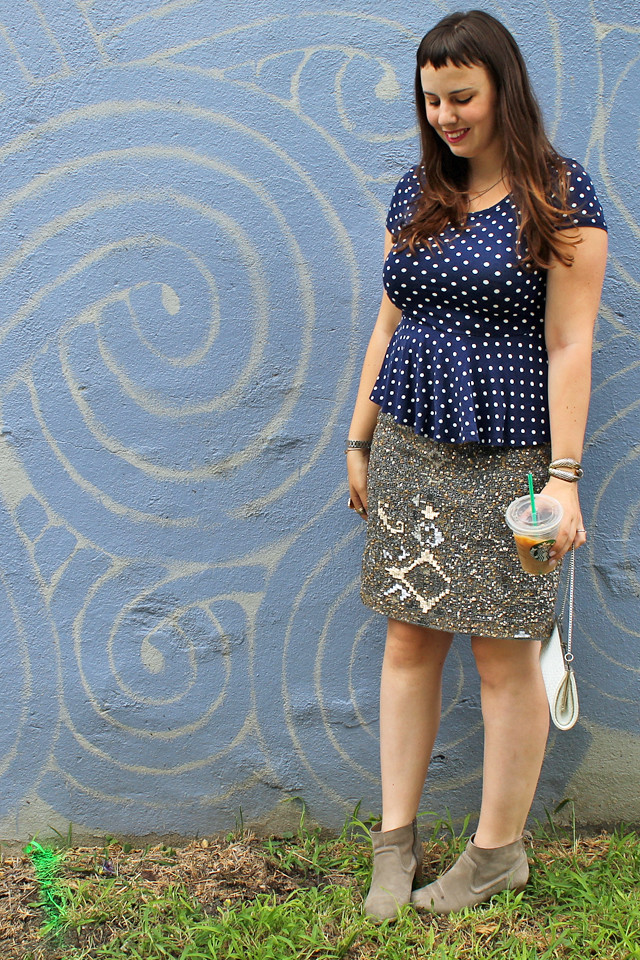 Remix Outfit: Anthropologie sequined wool pencil skirt, navy and white polkadot peplum tee, basket-weave purse, suede ankle boots, Anthropologie floral blazer
