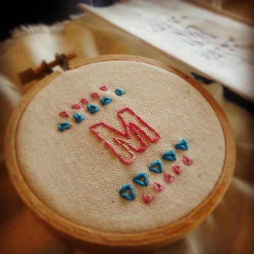 Learning embroidery with Lindsay at @Kollaborra! Thanks so much, super fun #DIY! #txsc13
