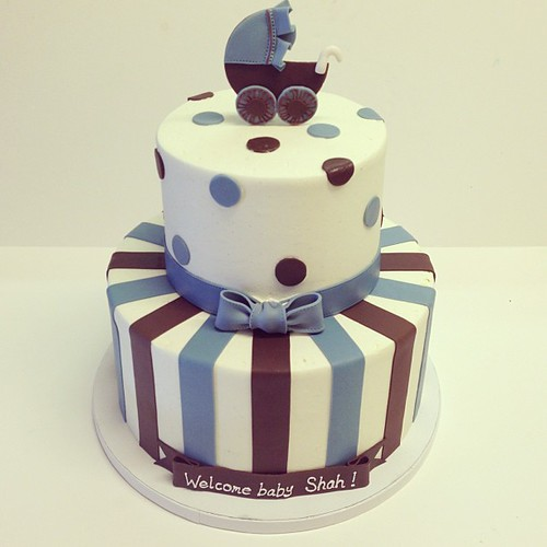 Brown and blue baby shower #polkadotscupcakefactory