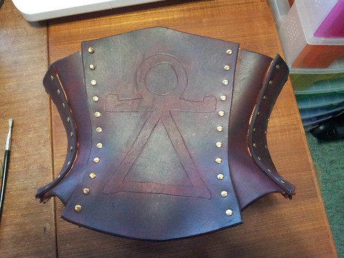 Dyed leather corset