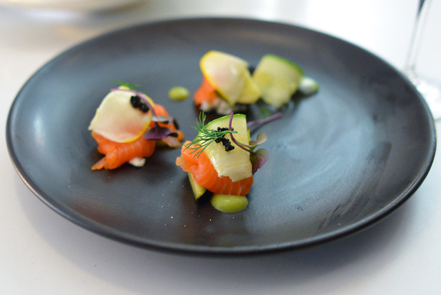 smoked salmon, summer squash, chevre, dill