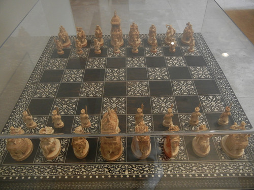DSCN7652 _ Chess Set, c. 1850, Ivory pieces, wood board inlaid with ivory, India: Delhi region, 1825-1875, Norton Simon Museum, July 2013