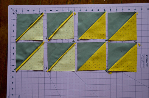 6. Iron Half Square Triangles, Seams Open