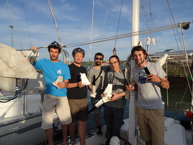 team Leds&Chips giving Lab-REV two blades for the nex wind turbine aboard Karukera!