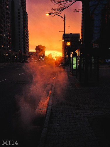 ca ontario canada london sunrise dark hotel trafficlight downtown apartments matthew may steam busstop wellington manhole dundas citycentre iphone 2014 trevithick downtowncore matthewtrevithick mtphotography