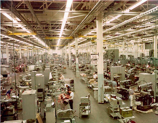 Machine shop in the Pratt and Whitney Aircraft research and development center