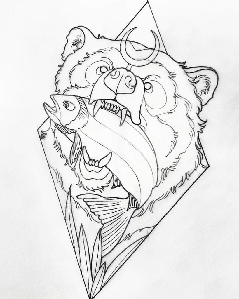The Bear Diseno Previo Al Tattoo Neo Tradicional Querido Flickr
