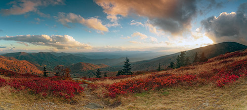 roundbald roanhighlands roanmountain blueberries sunset clouds mountains
