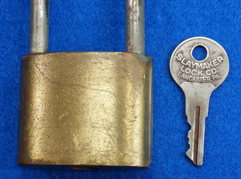 RD14743 Vintage Rollfast Bicycle Bike Lock Brass Body Long Hasp with Key Padlock DSC06261
