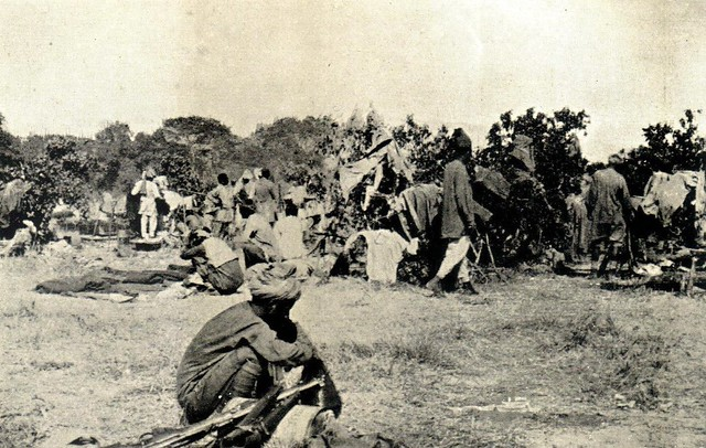 29. Indian Army 29th Punjabi sepoys resting after the Soko-Nassai battle, March 1916