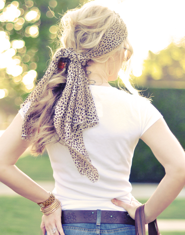 leopard scarf in hair -
