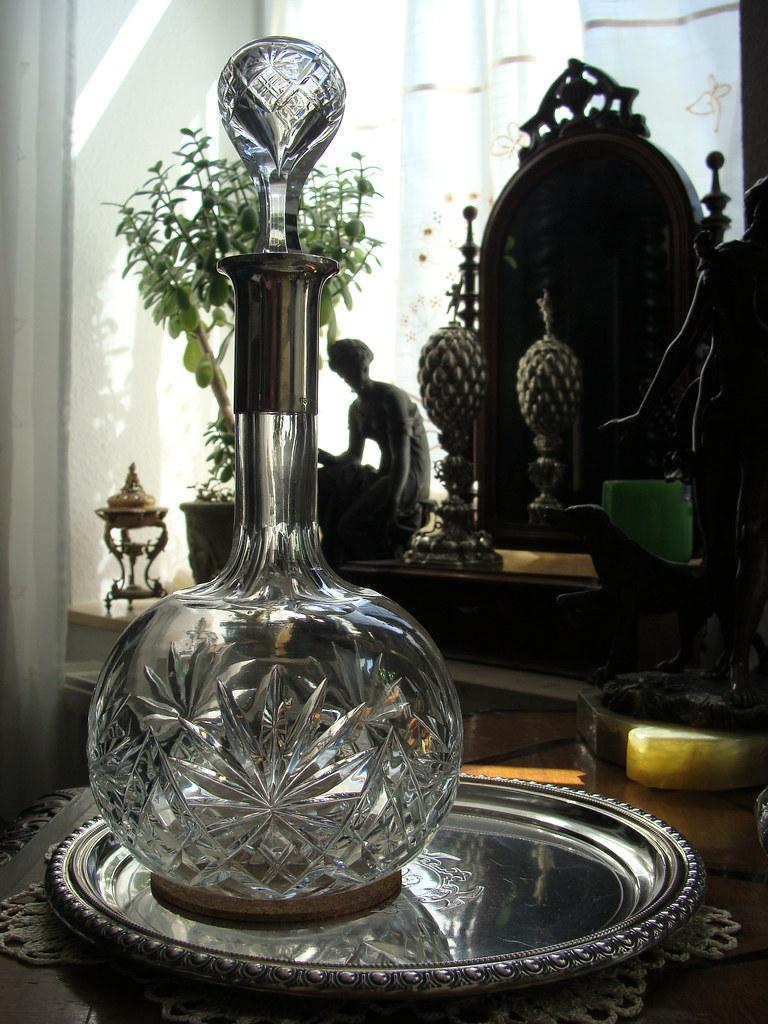 schw bisch gm nd wilhelm binder silber 800 kristall karaffe 31 5 cm wtb 1900. Black Bedroom Furniture Sets. Home Design Ideas