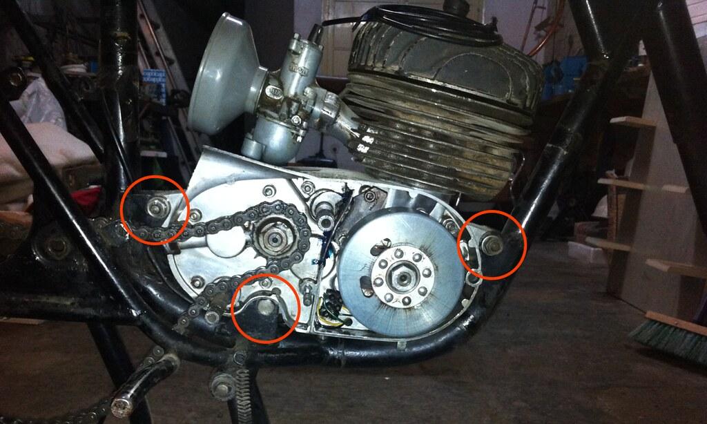 Puntos de sujeción del motor al chasis de la montesa impala