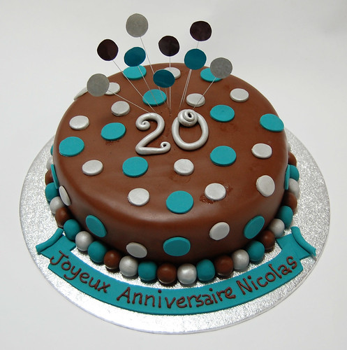 The Teal and Silver Dot Chocolate Cake from 40