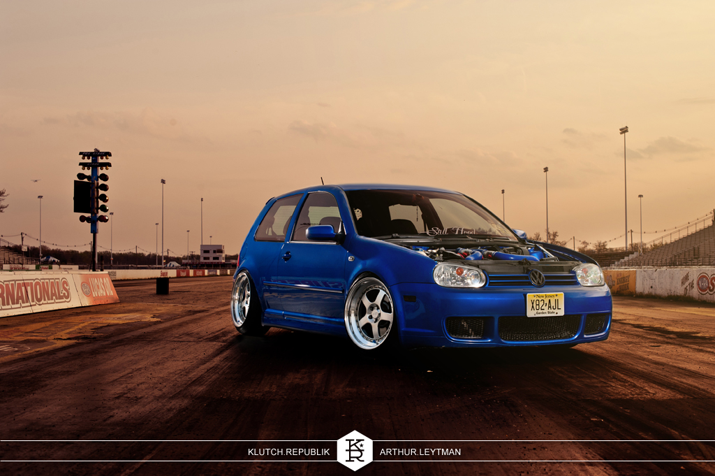 blue mk4 golf gti r32 turbo HPA ccw lm5 3pc wheels static airride low slammed coilovers stance stanced hellaflush poke tuck fitment fitted tire stretch laid out hard parked seen on klutch republik