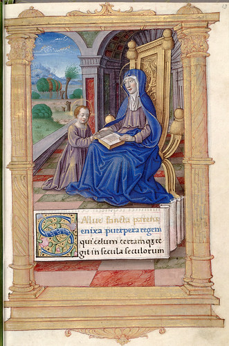 014-La virgen enseñando a leer al niño Jesus-HM 1124-fol 13- (C) 2006 The Regents of the University of California. All rights reserved