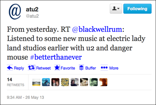 Chris Blackwell's U2 album tweet